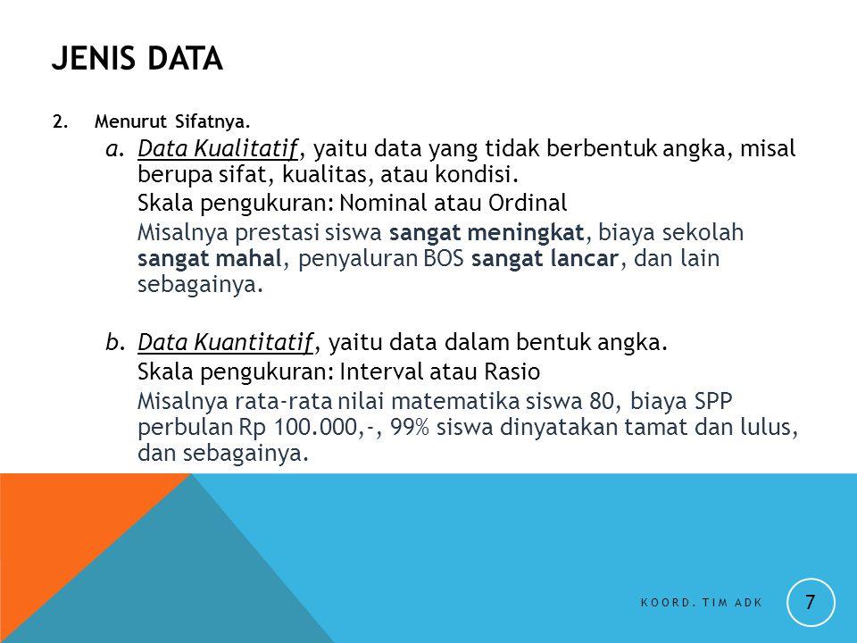JENIS DATA 2. Menurut Sifatnya. Data Kualitatif, yaitu data yang tidak berbentuk angka, misal berupa sifat, kualitas, atau kondisi.