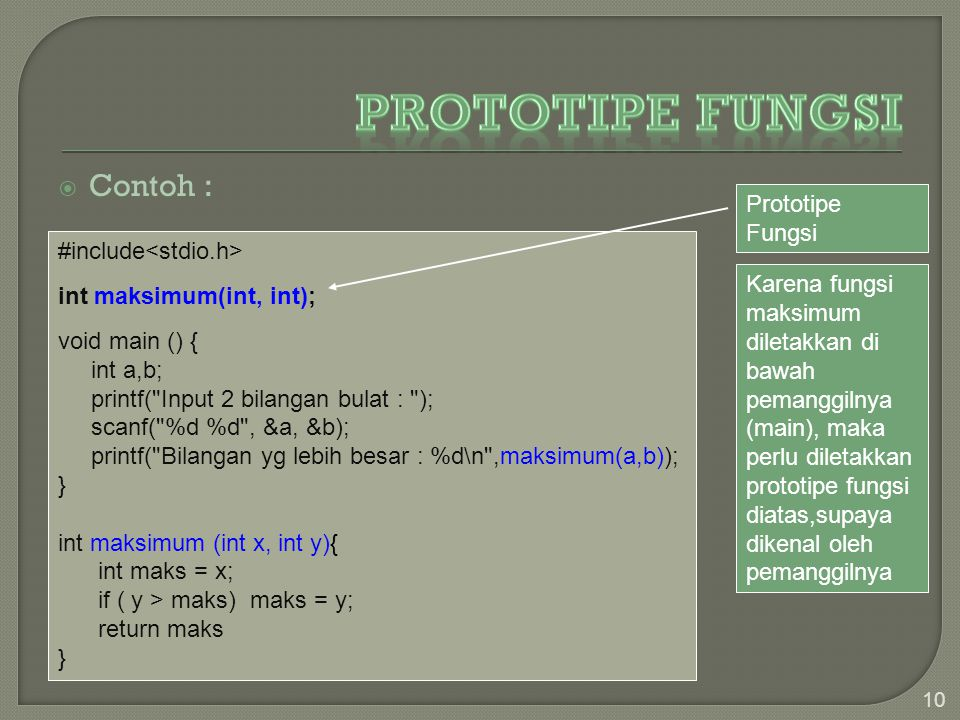 Prototipe Fungsi Contoh : Prototipe Fungsi #include<stdio.h>
