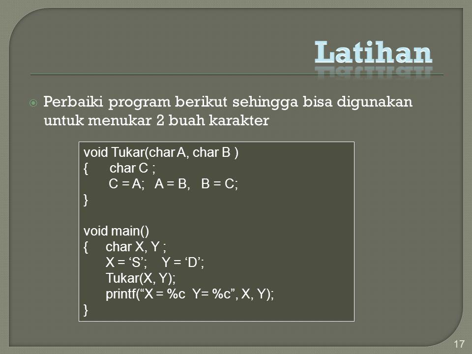 Latihan Perbaiki program berikut sehingga bisa digunakan untuk menukar 2 buah karakter. void Tukar(char A, char B )