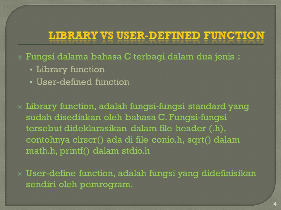 Library vs User-Defined Function