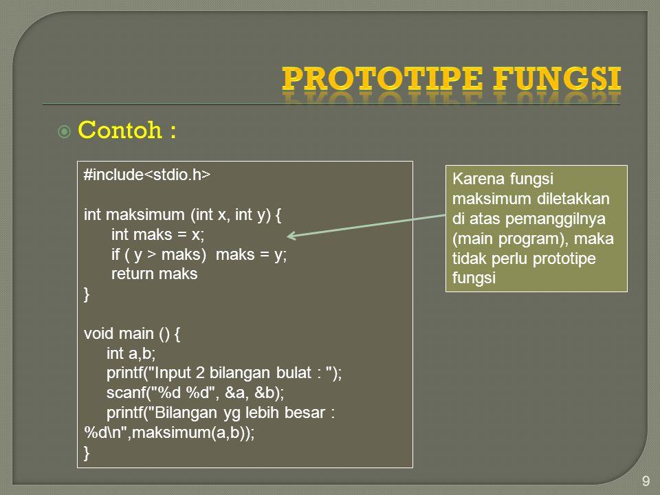 Prototipe Fungsi Contoh : #include<stdio.h>