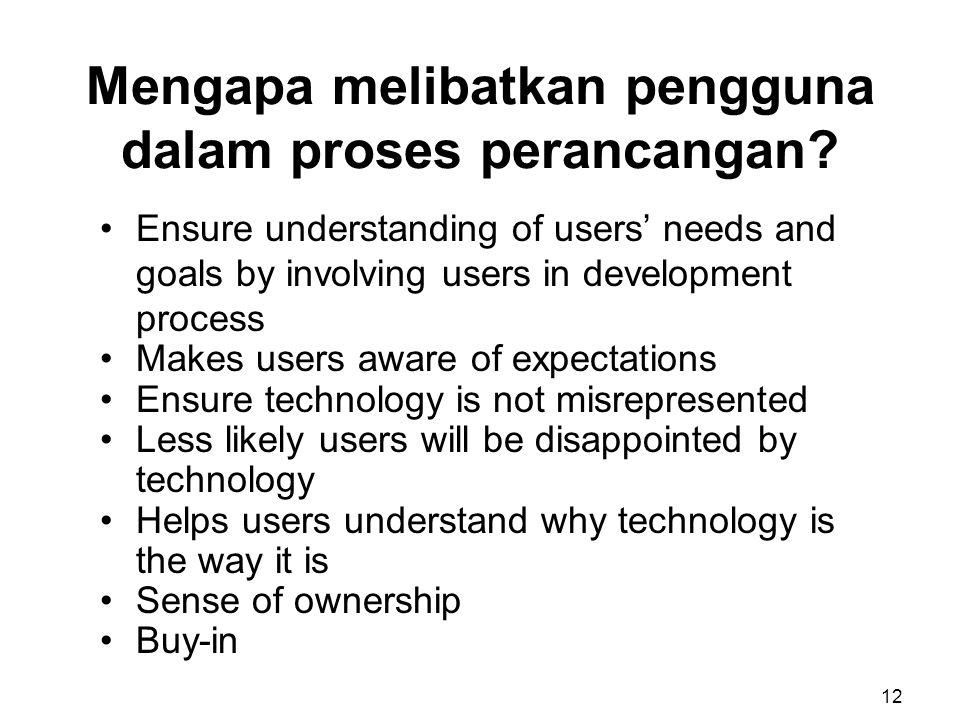 Mengapa melibatkan pengguna dalam proses perancangan