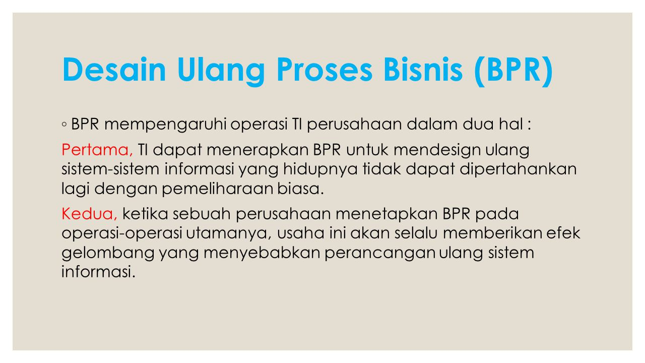 Desain Ulang Proses Bisnis (BPR)