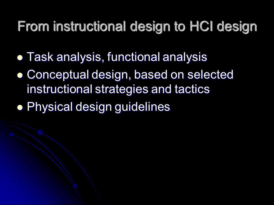 From instructional design to HCI design