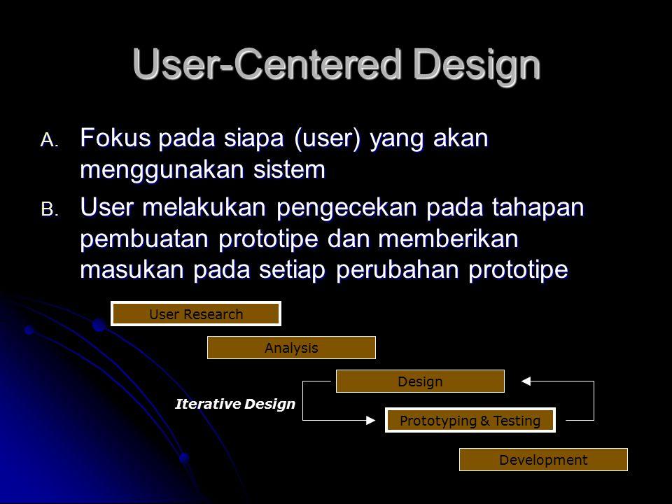 User-Centered Design Fokus pada siapa (user) yang akan menggunakan sistem.