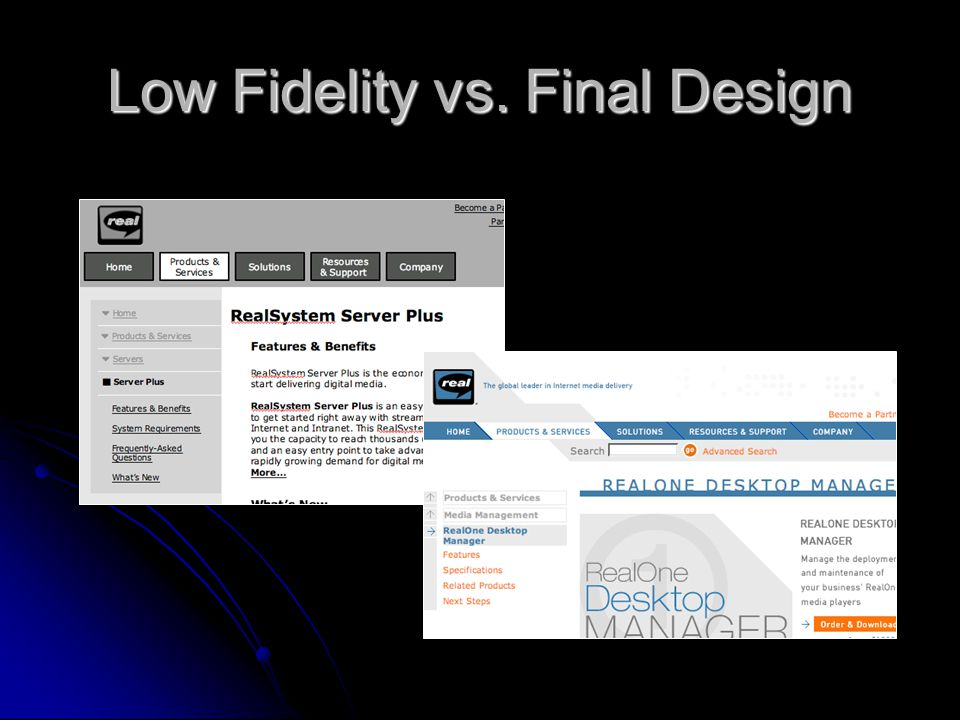 Low Fidelity vs. Final Design