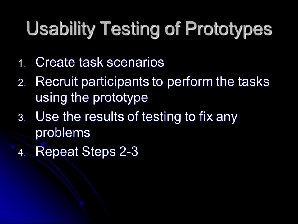 Usability Testing of Prototypes