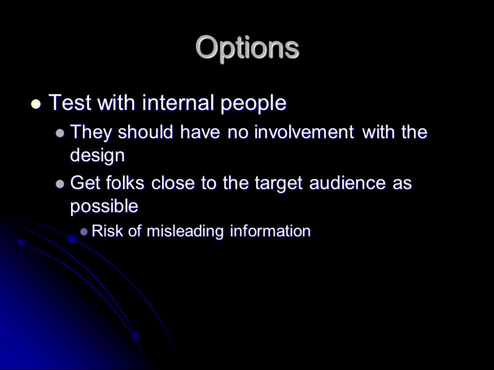 Options Test with internal people