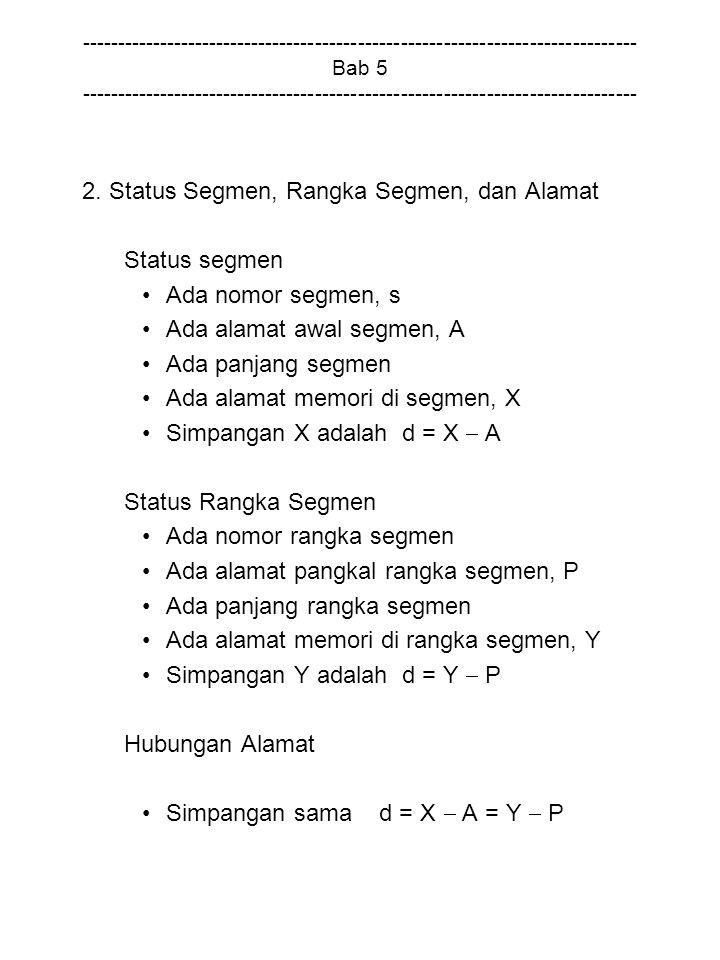 2. Status Segmen, Rangka Segmen, dan Alamat Status segmen