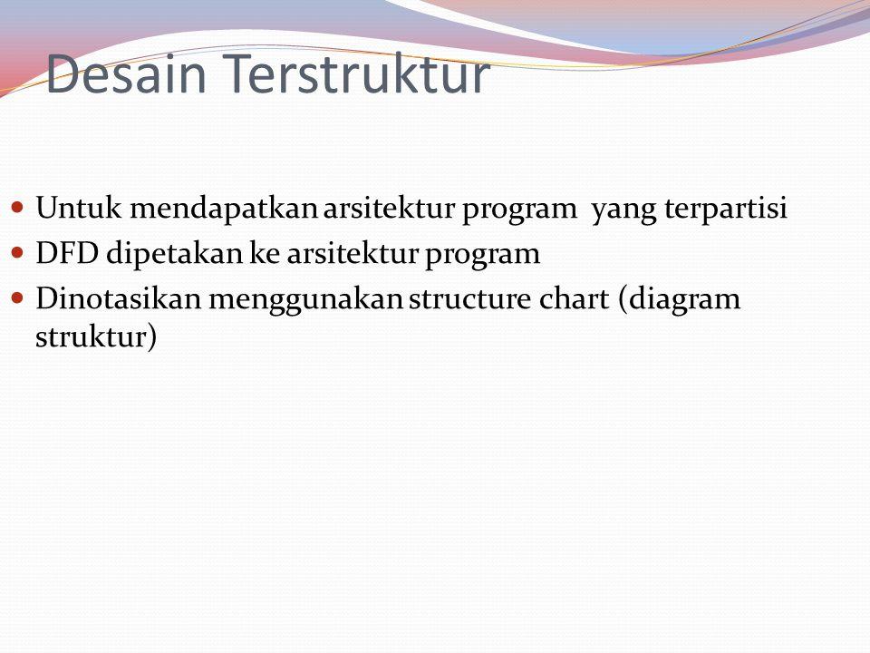 Desain Terstruktur Untuk mendapatkan arsitektur program yang terpartisi. DFD dipetakan ke arsitektur program.