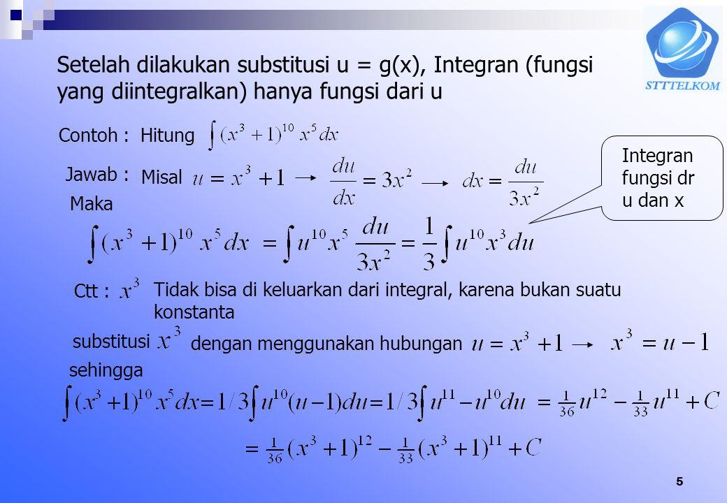 Setelah dilakukan substitusi u = g(x), Integran (fungsi yang diintegralkan) hanya fungsi dari u