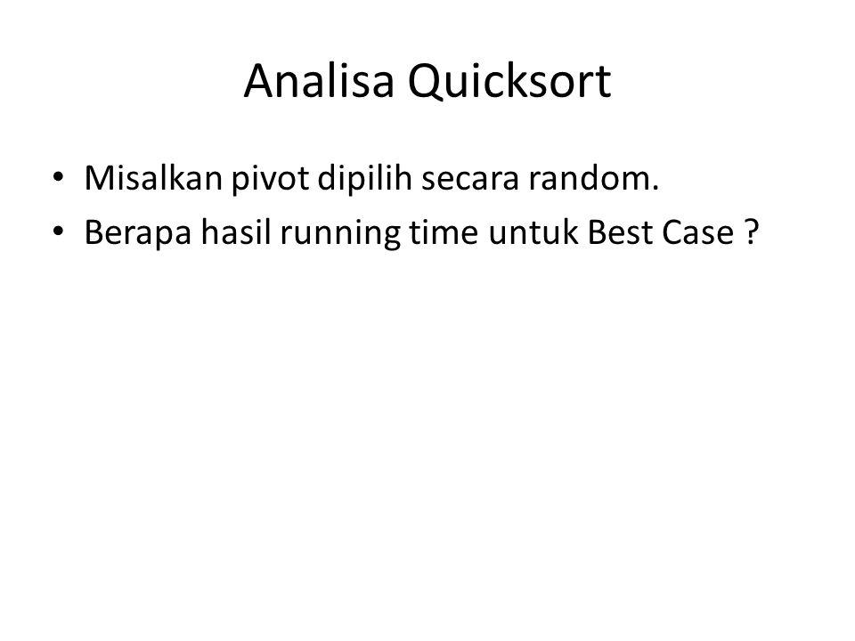 Analisa Quicksort Misalkan pivot dipilih secara random.