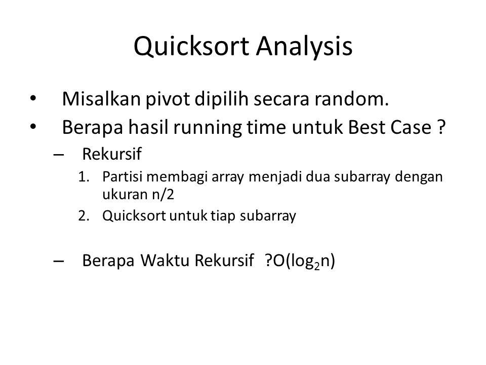 Quicksort Analysis Misalkan pivot dipilih secara random.