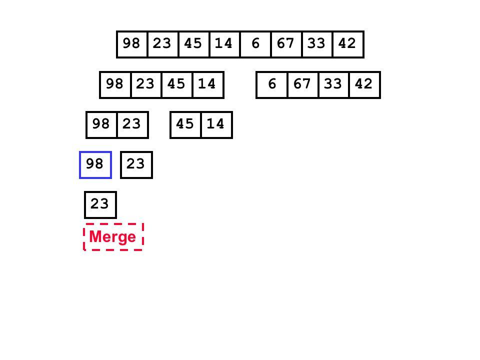 98 23 45 14 6 67 33 42 98 23 45 14 6 67 33 42 98 23 45 14 98 23 23 Merge
