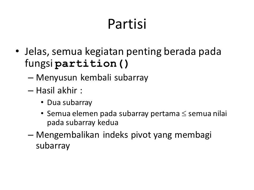 Partisi Jelas, semua kegiatan penting berada pada fungsi partition()
