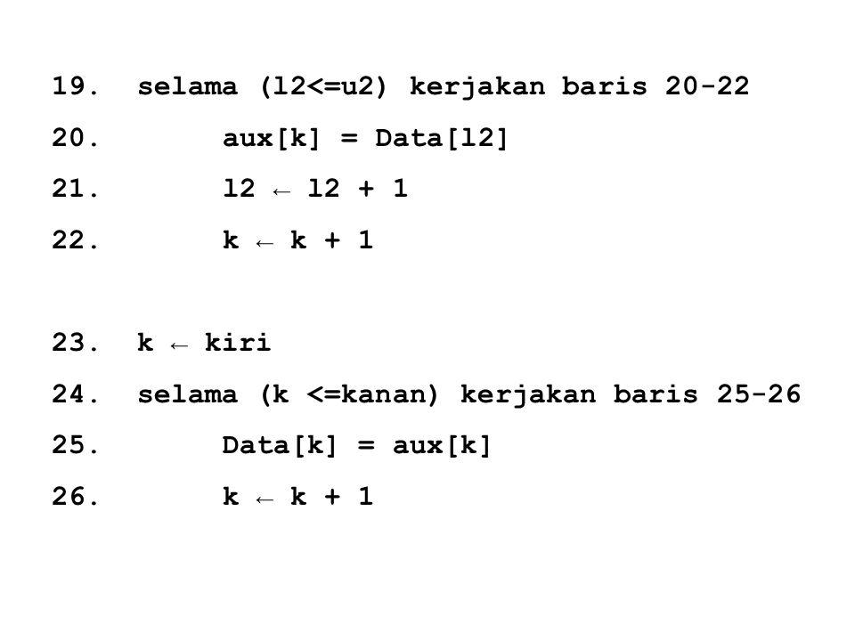 19. selama (l2<=u2) kerjakan baris 20-22