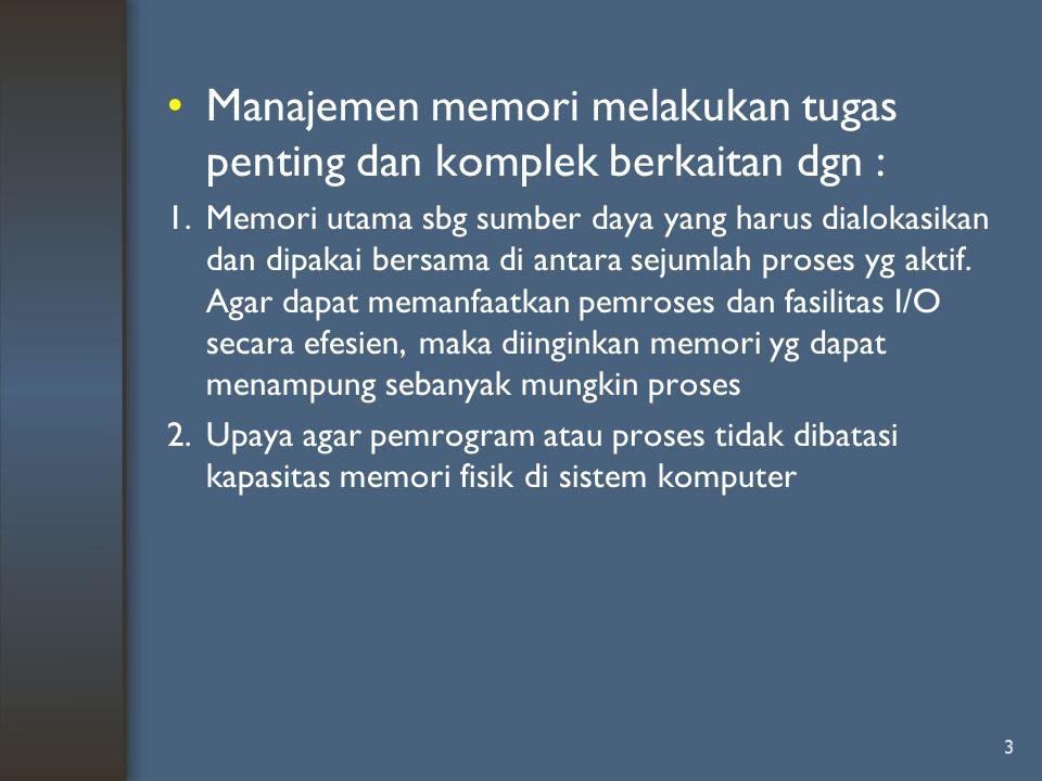 Manajemen memori melakukan tugas penting dan komplek berkaitan dgn :
