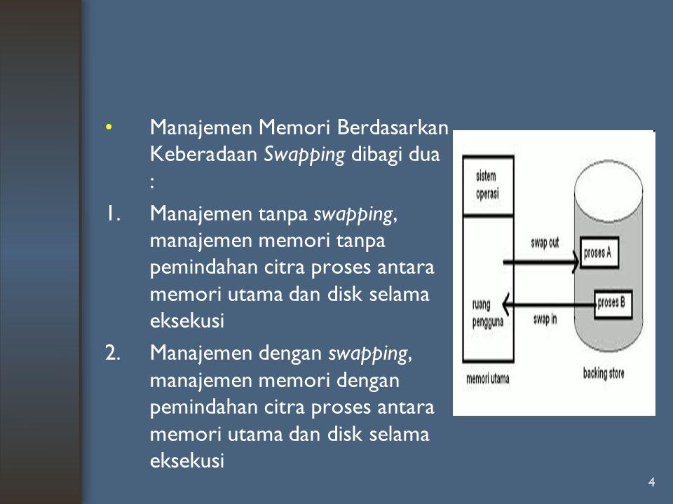 Manajemen Memori Berdasarkan Keberadaan Swapping dibagi dua :