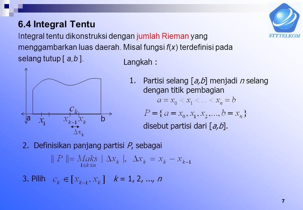 6.4 Integral Tentu Integral tentu dikonstruksi dengan jumlah Rieman yang. menggambarkan luas daerah. Misal fungsi f(x) terdefinisi pada.