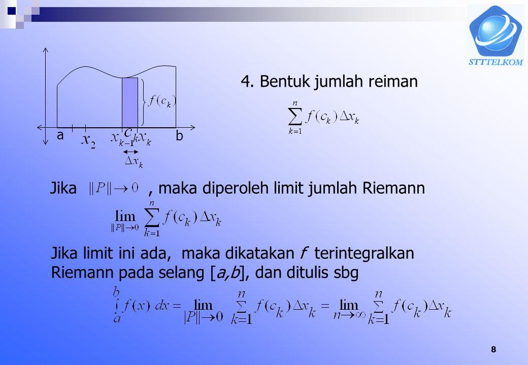 Jika , maka diperoleh limit jumlah Riemann