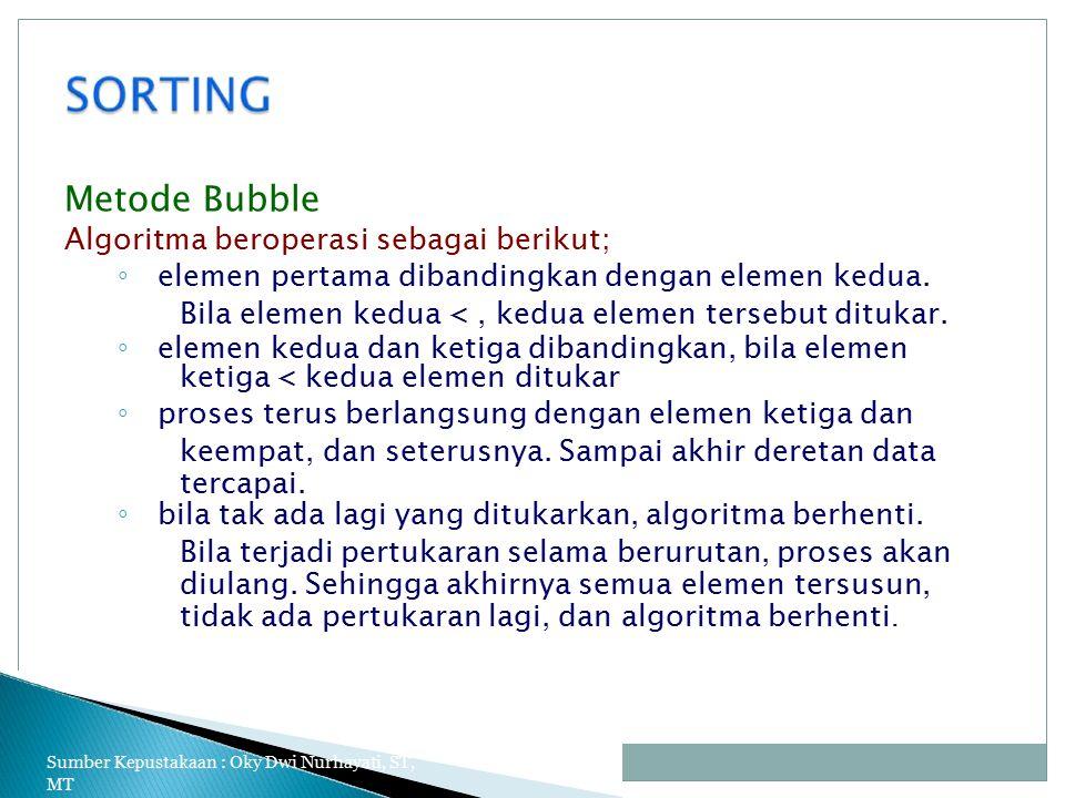 Metode Bubble Algoritma beroperasi sebagai berikut;