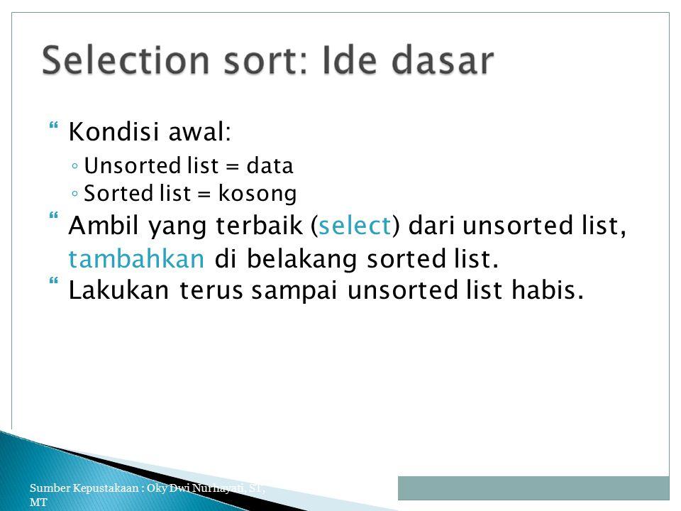 Ambil yang terbaik (select) dari unsorted list,