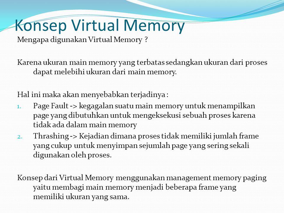 Konsep Virtual Memory Mengapa digunakan Virtual Memory