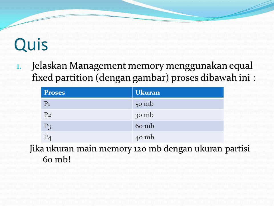 Quis Jelaskan Management memory menggunakan equal fixed partition (dengan gambar) proses dibawah ini :
