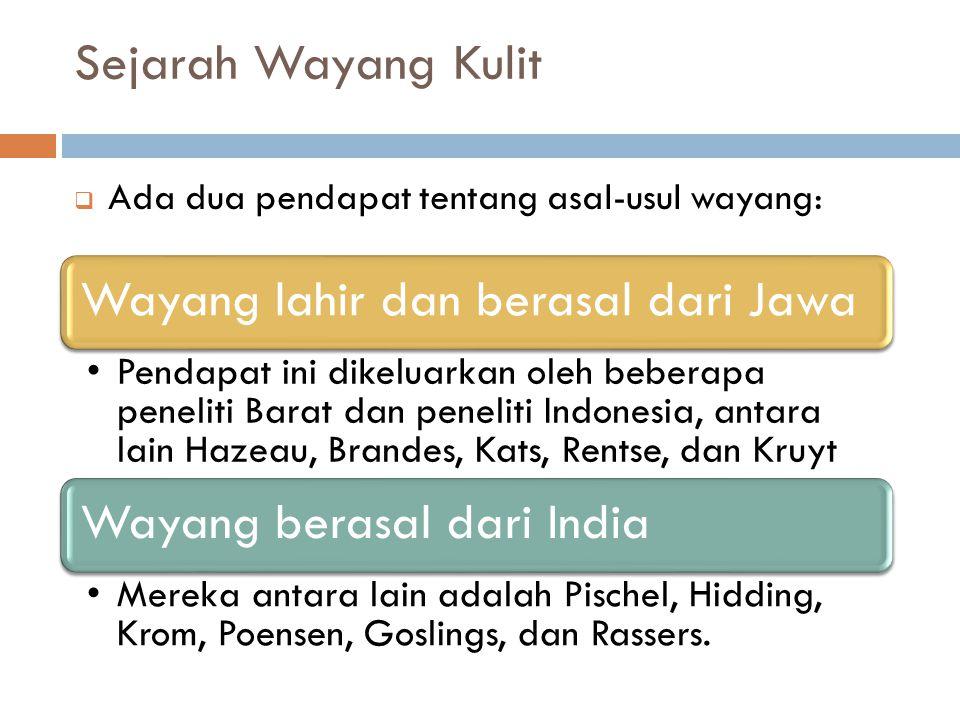 Sejarah Wayang Kulit Ada dua pendapat tentang asal-usul wayang: