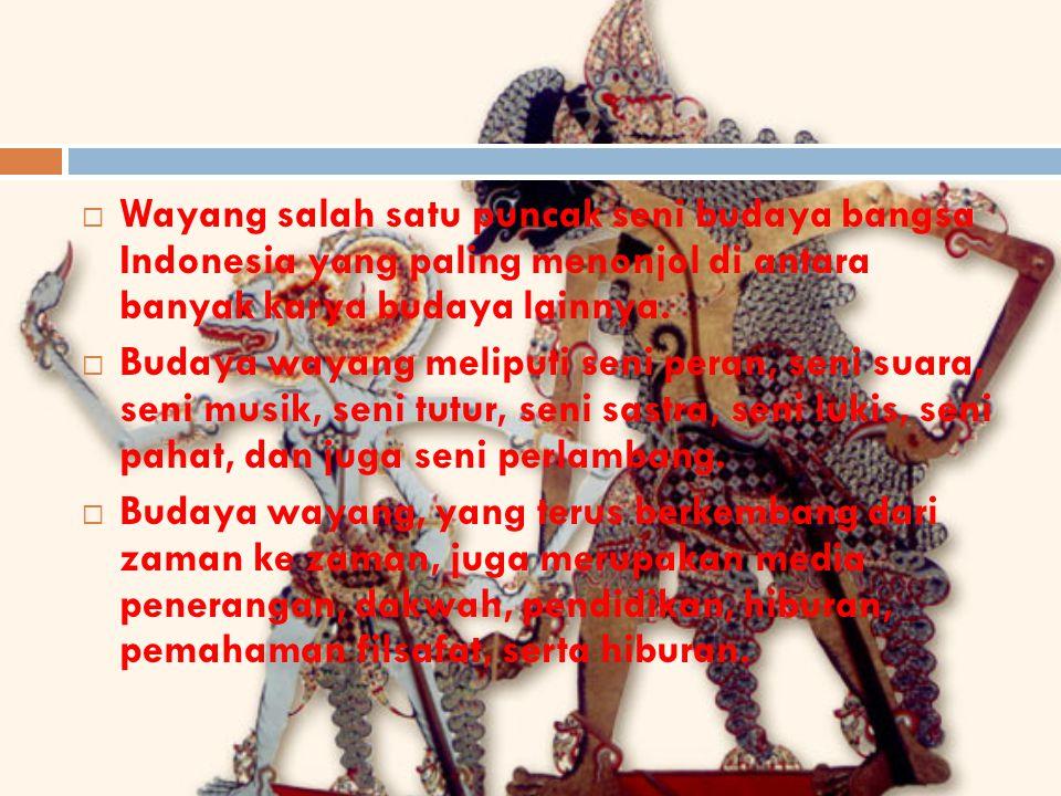 Wayang salah satu puncak seni budaya bangsa Indonesia yang paling menonjol di antara banyak karya budaya lainnya.