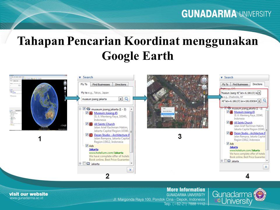 Tahapan Pencarian Koordinat menggunakan Google Earth
