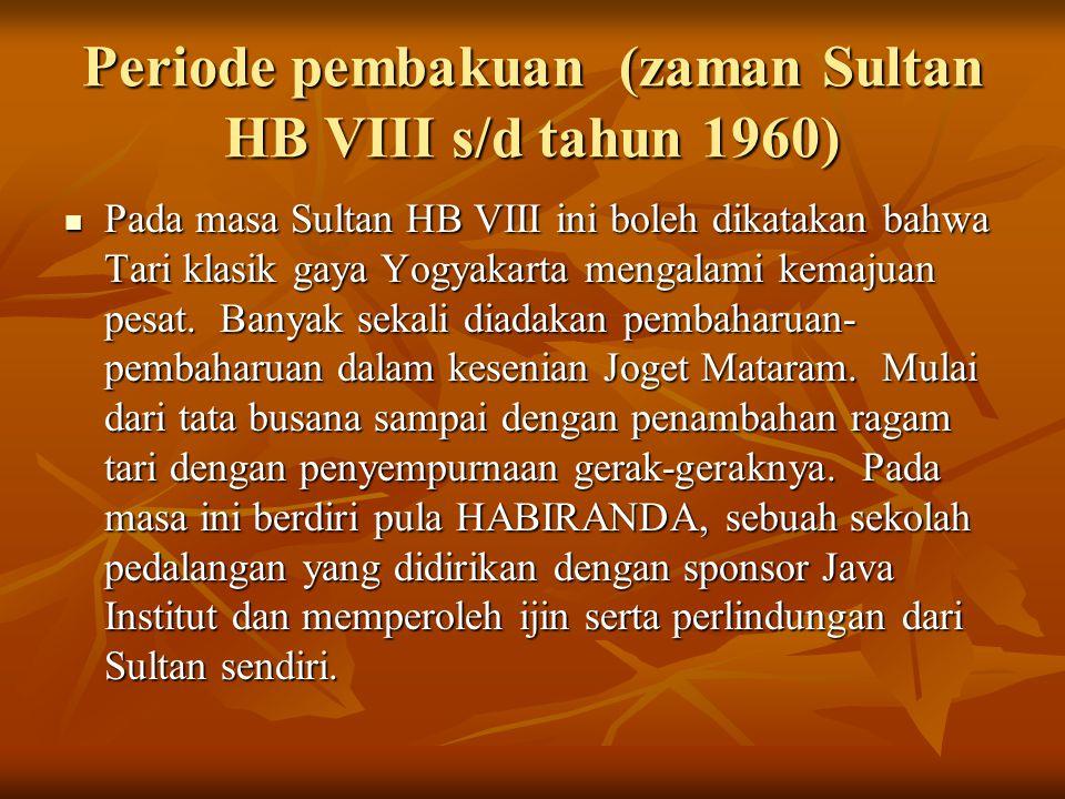 Periode pembakuan (zaman Sultan HB VIII s/d tahun 1960)