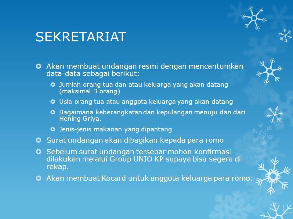 SEKRETARIAT Akan membuat undangan resmi dengan mencantumkan data-data sebagai berikut: