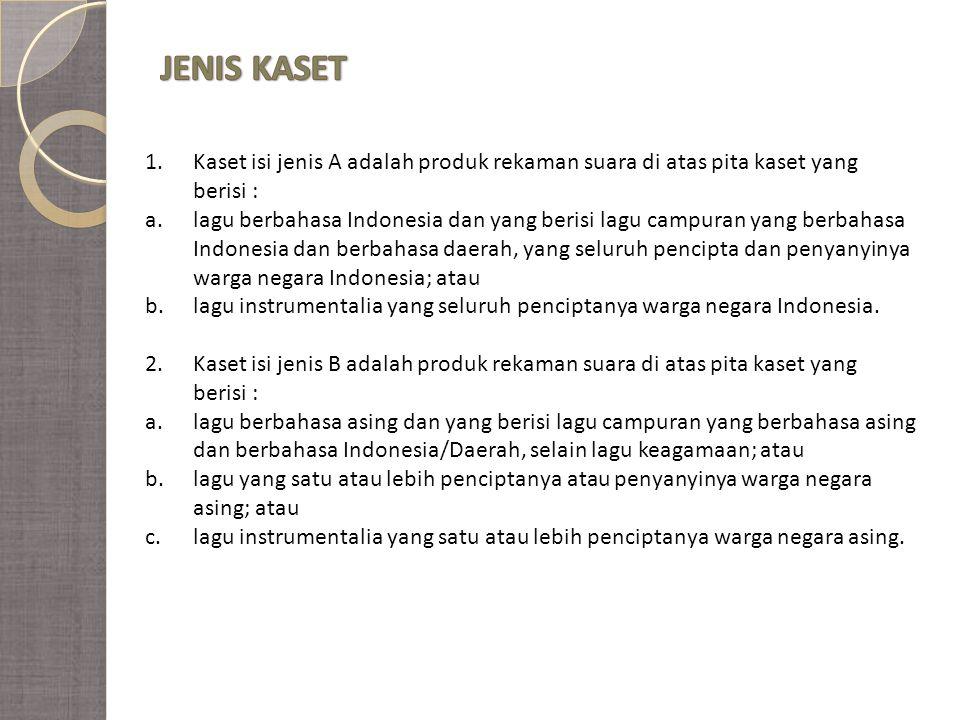 JENIS KASET Kaset isi jenis A adalah produk rekaman suara di atas pita kaset yang. berisi :
