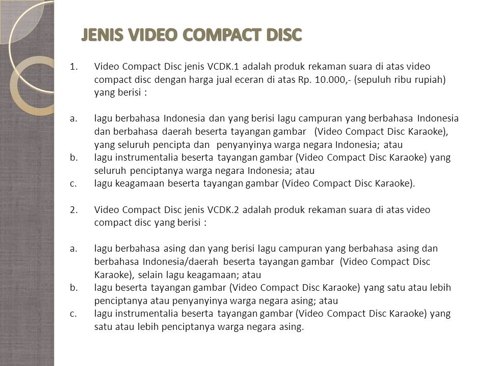 JENIS VIDEO COMPACT DISC