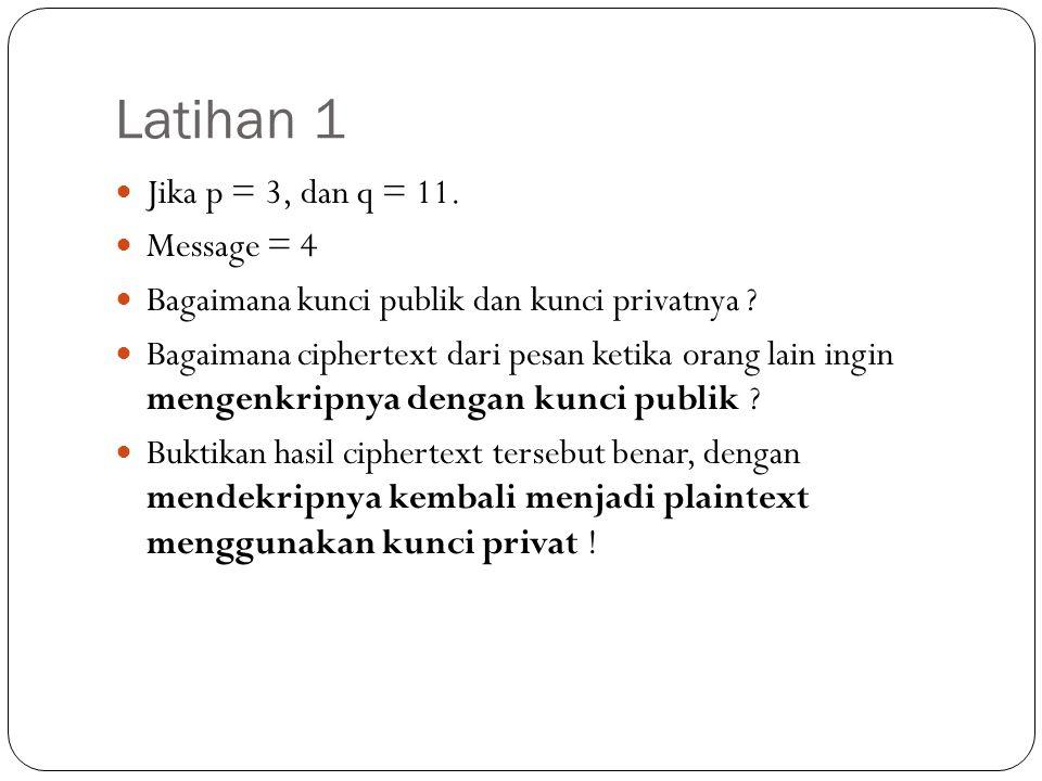 Latihan 1 Jika p = 3, dan q = 11. Message = 4