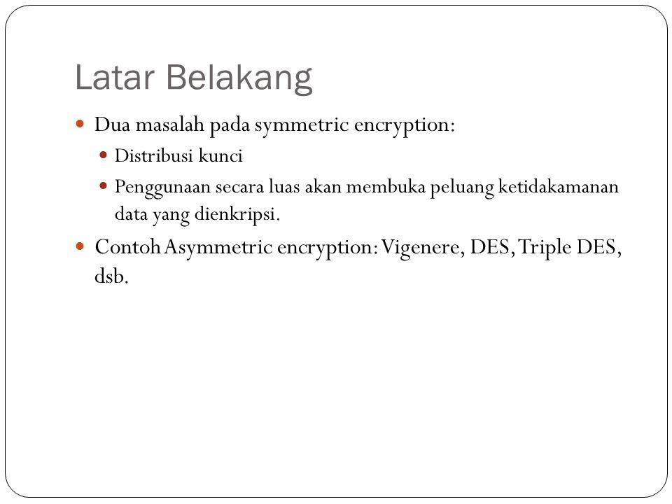 Latar Belakang Dua masalah pada symmetric encryption: