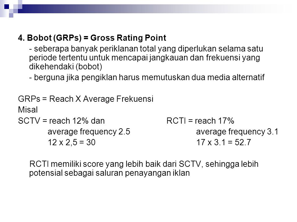 4. Bobot (GRPs) = Gross Rating Point