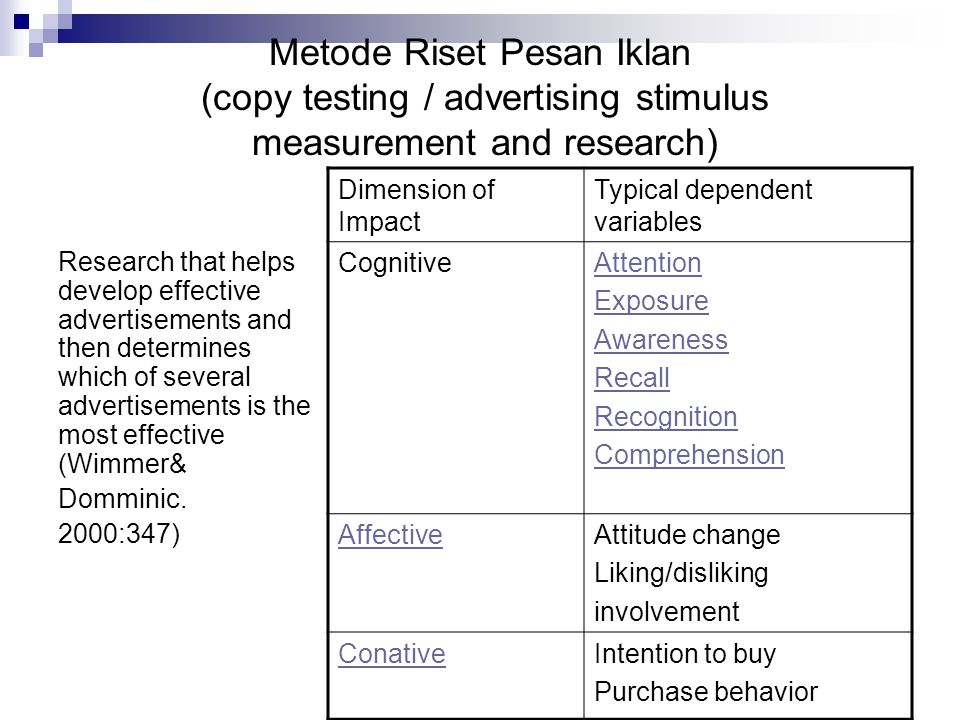 Metode Riset Pesan Iklan (copy testing / advertising stimulus measurement and research)