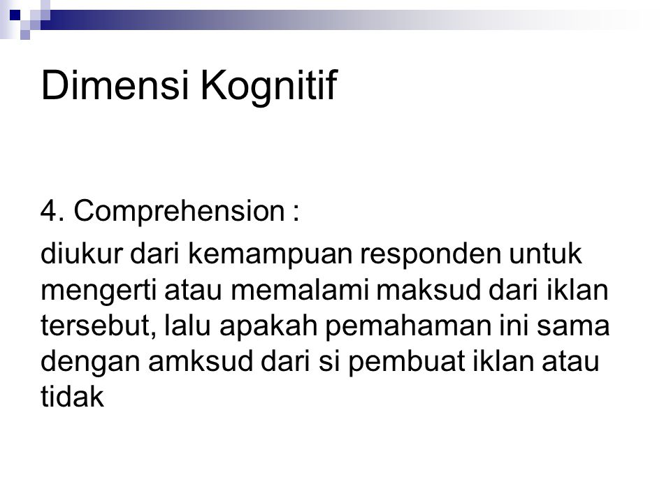 Dimensi Kognitif 4. Comprehension :