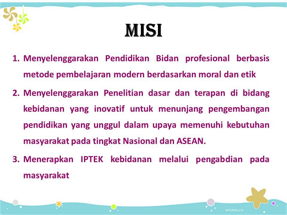 MISI Menyelenggarakan Pendidikan Bidan profesional berbasis metode pembelajaran modern berdasarkan moral dan etik.