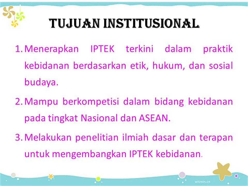 TUJUAN INSTITUSIONAL Menerapkan IPTEK terkini dalam praktik kebidanan berdasarkan etik, hukum, dan sosial budaya.