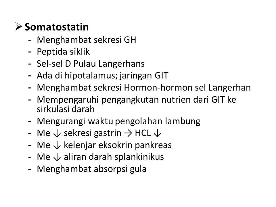 Somatostatin Menghambat sekresi GH Peptida siklik