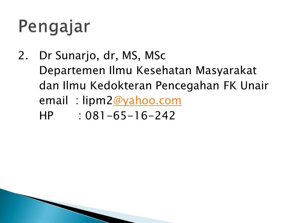 Pengajar 2. Dr Sunarjo, dr, MS, MSc