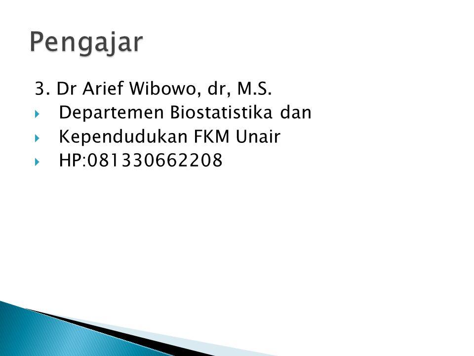 Pengajar 3. Dr Arief Wibowo, dr, M.S. Departemen Biostatistika dan