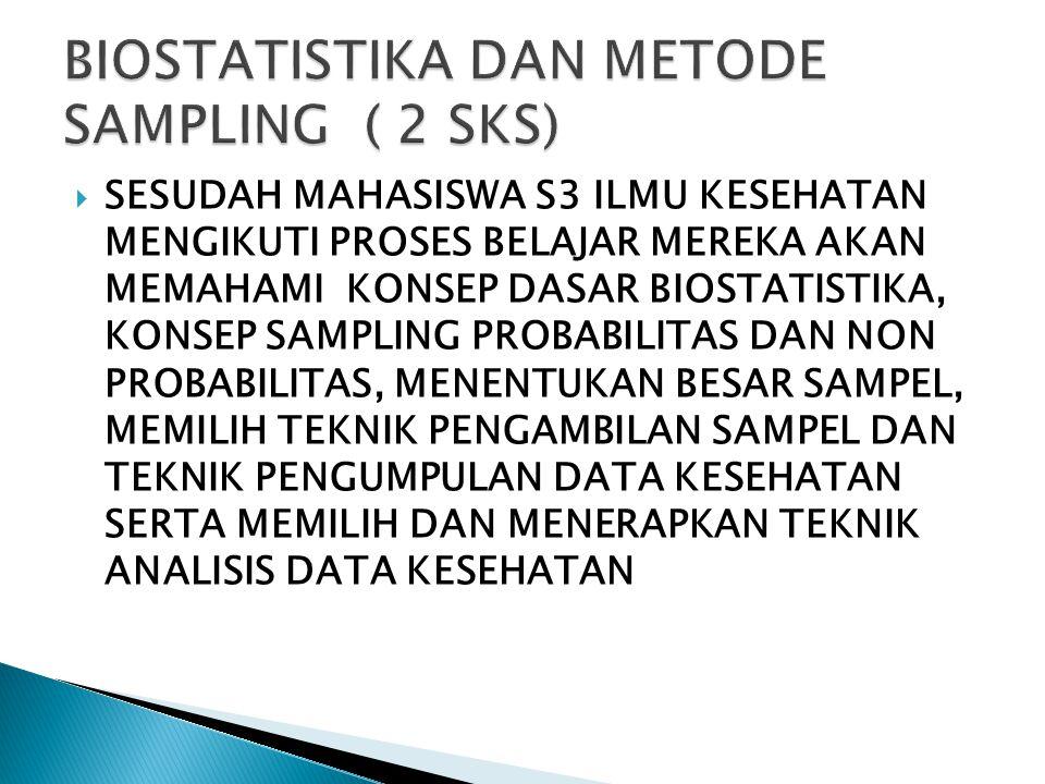 BIOSTATISTIKA DAN METODE SAMPLING ( 2 SKS)