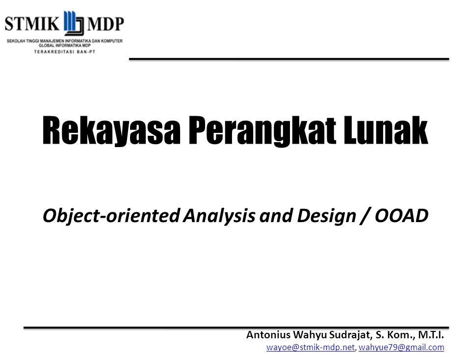 Object-oriented Analysis and Design / OOAD