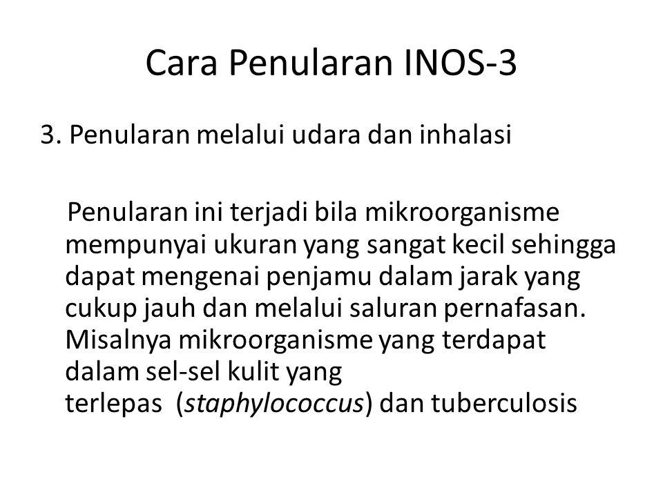 Cara Penularan INOS-3 3. Penularan melalui udara dan inhalasi