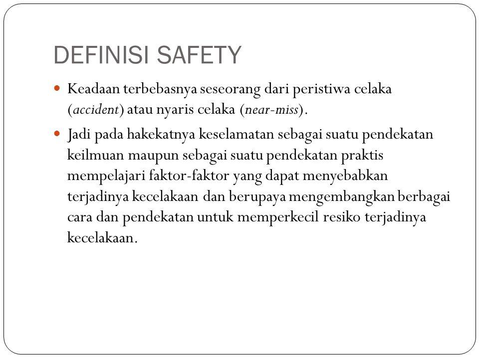 DEFINISI SAFETY Keadaan terbebasnya seseorang dari peristiwa celaka (accident) atau nyaris celaka (near-miss).