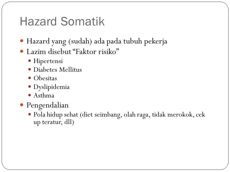 Hazard Somatik Hazard yang (sudah) ada pada tubuh pekerja
